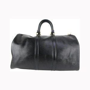 Louis Vuitton Black Epi Leather Noir Keepall 45 Boston Duffle Bag 915lv73